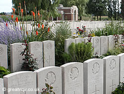 Graves at Lijssenthoek Military Cemetery.