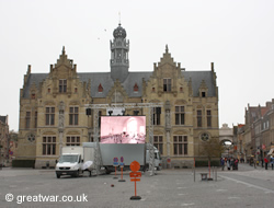Market square and live projection screen in Ypres