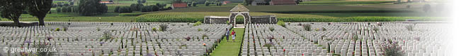 The largest British military cemetery in the world, Tyne Cot Cemetery on the Ypres Salient battlefield near Ypres.