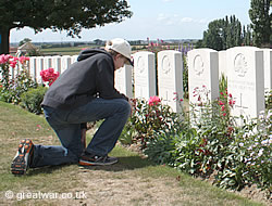 A young visitor at Tyne Cot Cemetery.