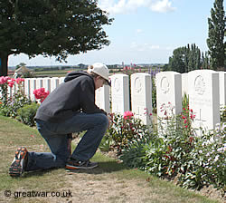Visitor at Tyne Cot Cemetery