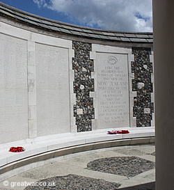New Zealand Memorial to the Missing, Tyne Cot Cemetery.