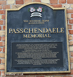 Western Front Association Memorial Plaque in Passendale.