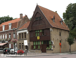 Reconstructed wooden facade on a house near Rijselsepoort, Ypres/Ieper