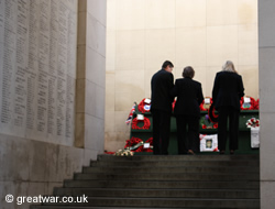 Laying a wreath at the Last Post Ceremony.