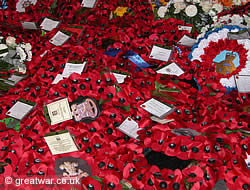 British poppy wreaths at the Menin Gate Memorial in Ypres, November 2005.
