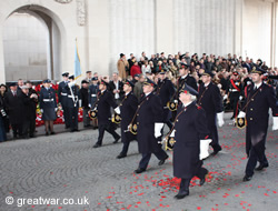 The Last Post Association buglers march past at the Menin Gate on 11 November.