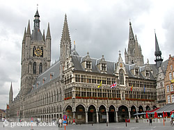 The Cloth Hall (Lakenhalle) in the Market Square of Ieper/Ypres.