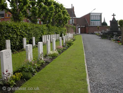 British graves in Ypres Town Cemetery